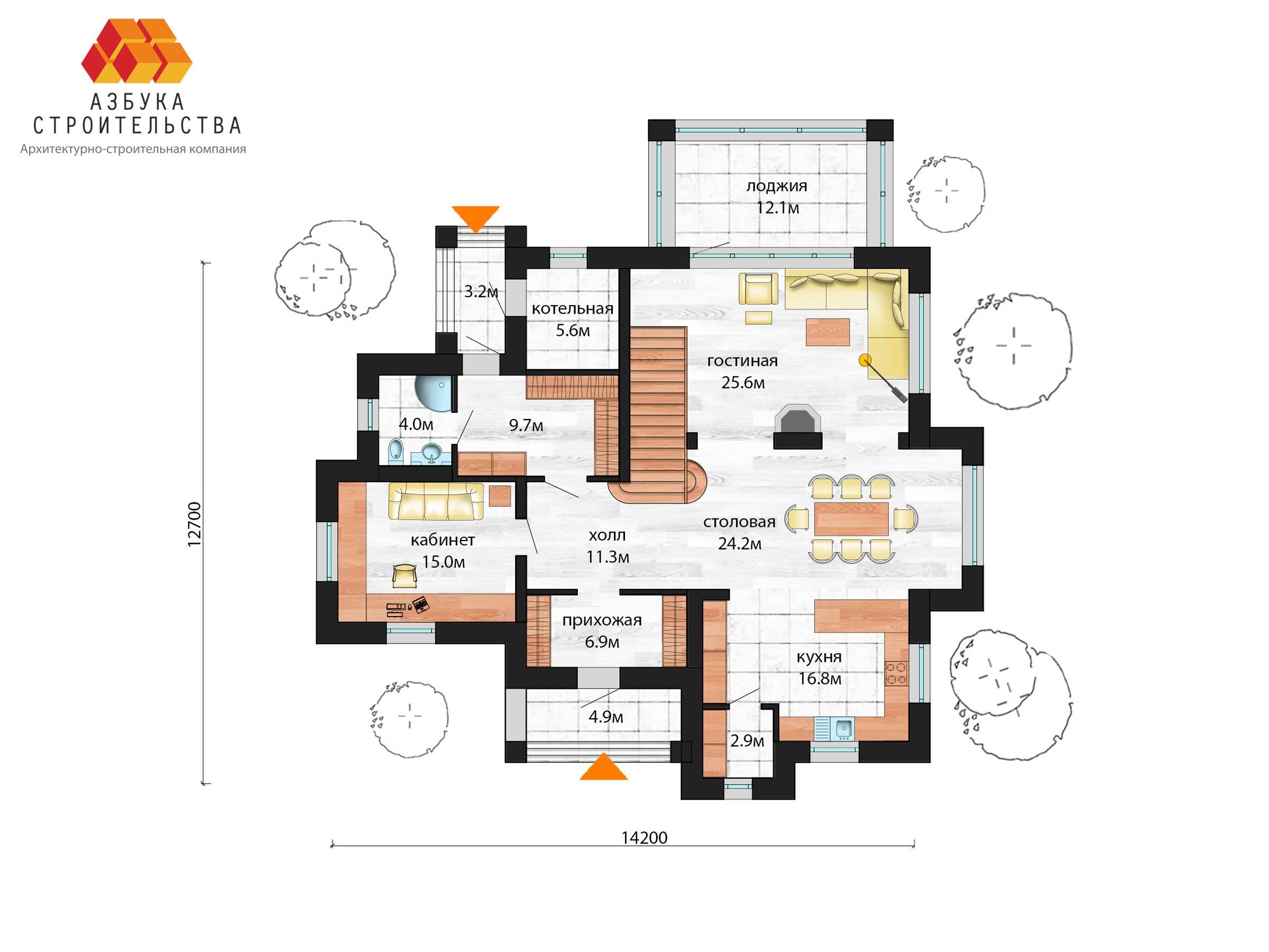 План 1 этажа проекта Г-АБ-298